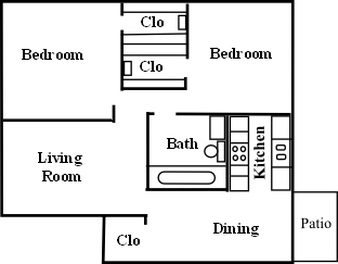 845 sq. ft. B-1 floor plan