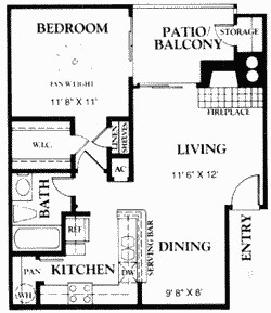 658 sq. ft. A3 floor plan
