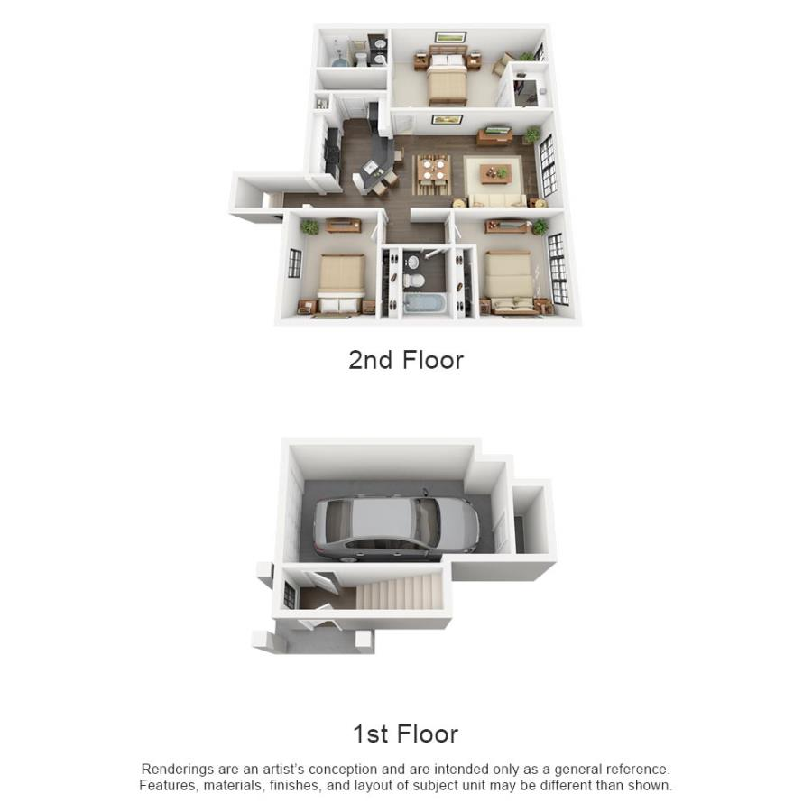 1,208 sq. ft. Doral floor plan