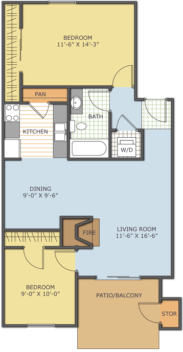 790 sq. ft. Birchwood floor plan