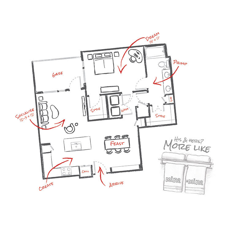 906 sq. ft. to 908 sq. ft. A4 floor plan