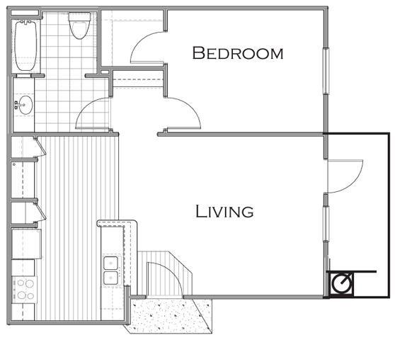754 sq. ft. A1 floor plan