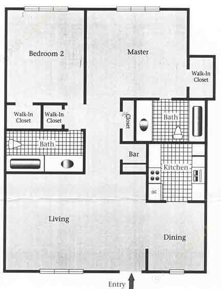 1,008 sq. ft. D/60% floor plan