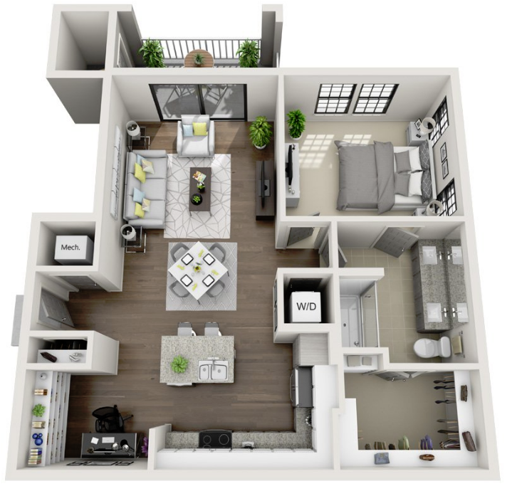 907 sq. ft. A6 floor plan