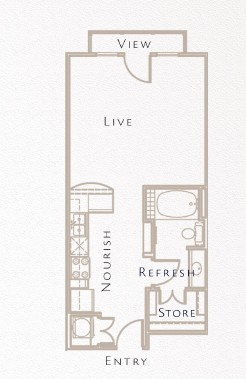 535 sq. ft. A3 floor plan