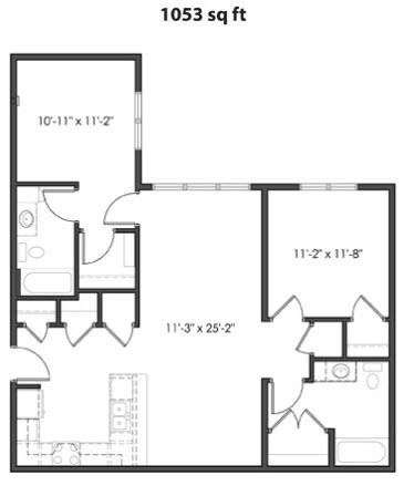 1,053 sq. ft. 50% floor plan