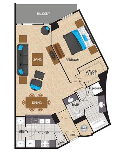 982 sq. ft. Sapphire floor plan