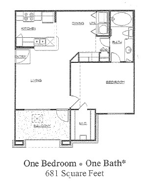 681 sq. ft. to 731 sq. ft. 60% floor plan
