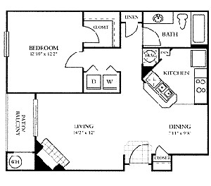 777 sq. ft. A floor plan