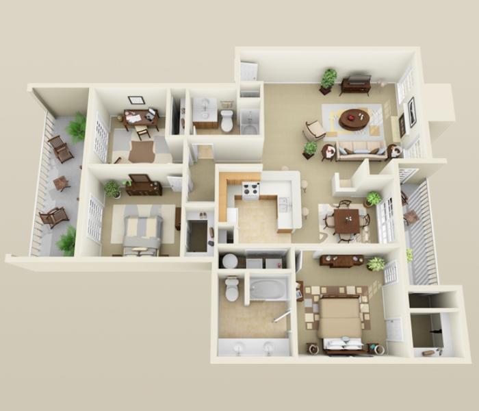 1,395 sq. ft. C1 floor plan