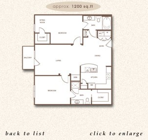 1,200 sq. ft. B-1 floor plan