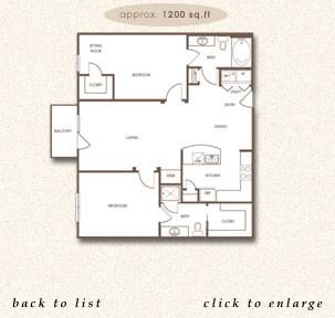 1,200 sq. ft. B-1 floor plan