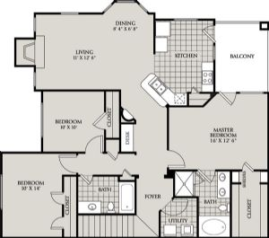 1,371 sq. ft. D1 floor plan