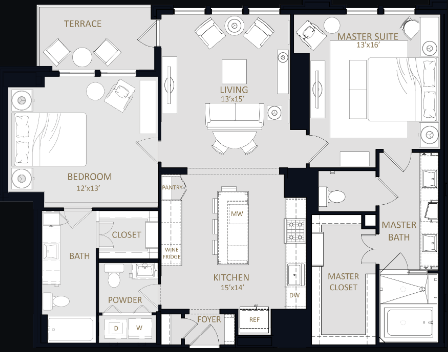 1,432 sq. ft. B3 floor plan