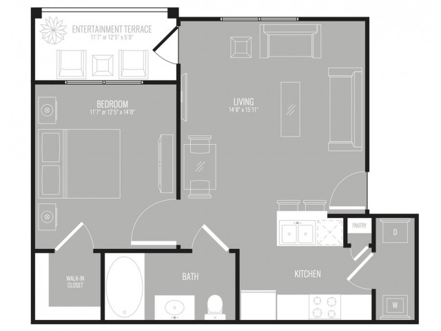 652 sq. ft. Cosmo floor plan