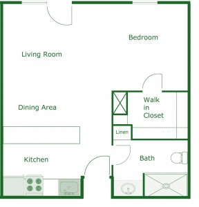 500 sq. ft. Village floor plan