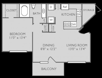 736 sq. ft. Pilates floor plan