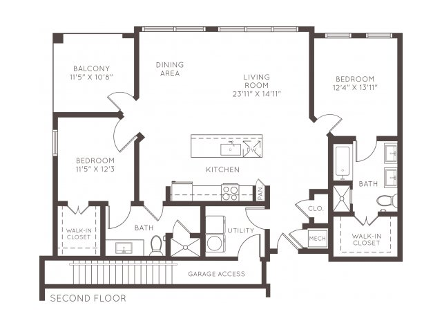 1,361 sq. ft. B2F floor plan