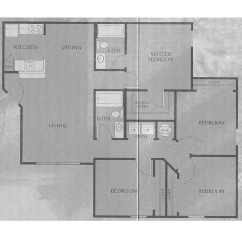 1,240 sq. ft. 50% floor plan
