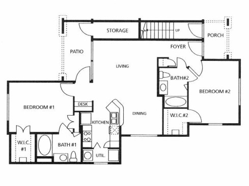 1,025 sq. ft. B1/60% floor plan