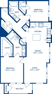 1,144 sq. ft. B1A floor plan