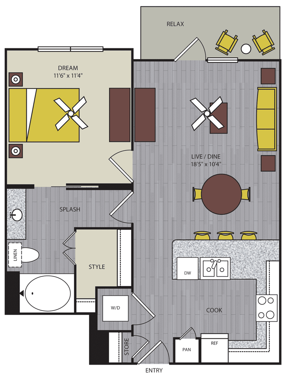 732 sq. ft. to 809 sq. ft. A9 floor plan