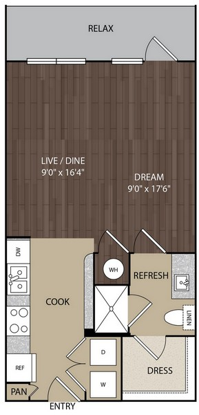 570 sq. ft. S2A floor plan