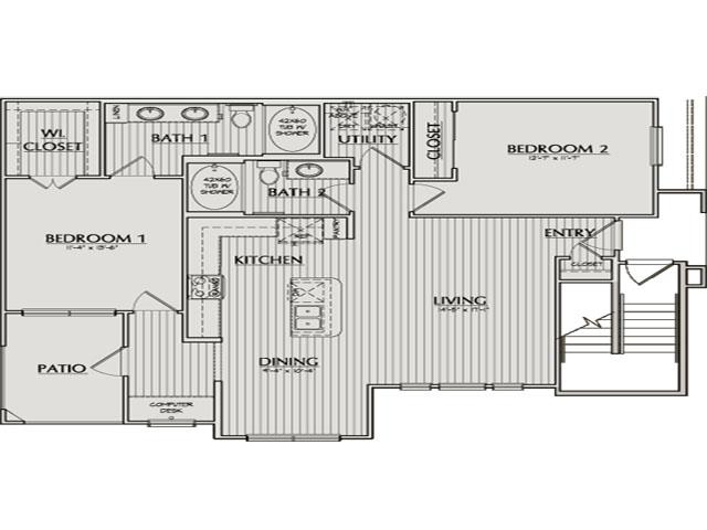 1,187 sq. ft. Kingsland floor plan