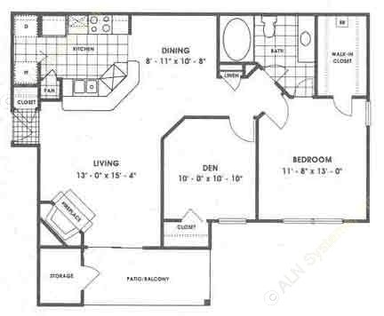911 sq. ft. A4/Seneca floor plan