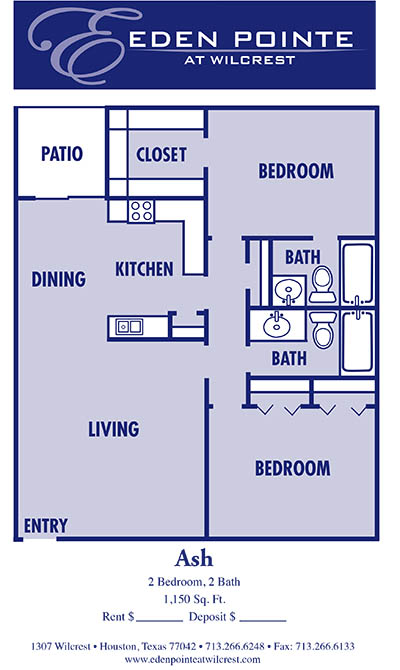 1,150 sq. ft. B3-Ash floor plan