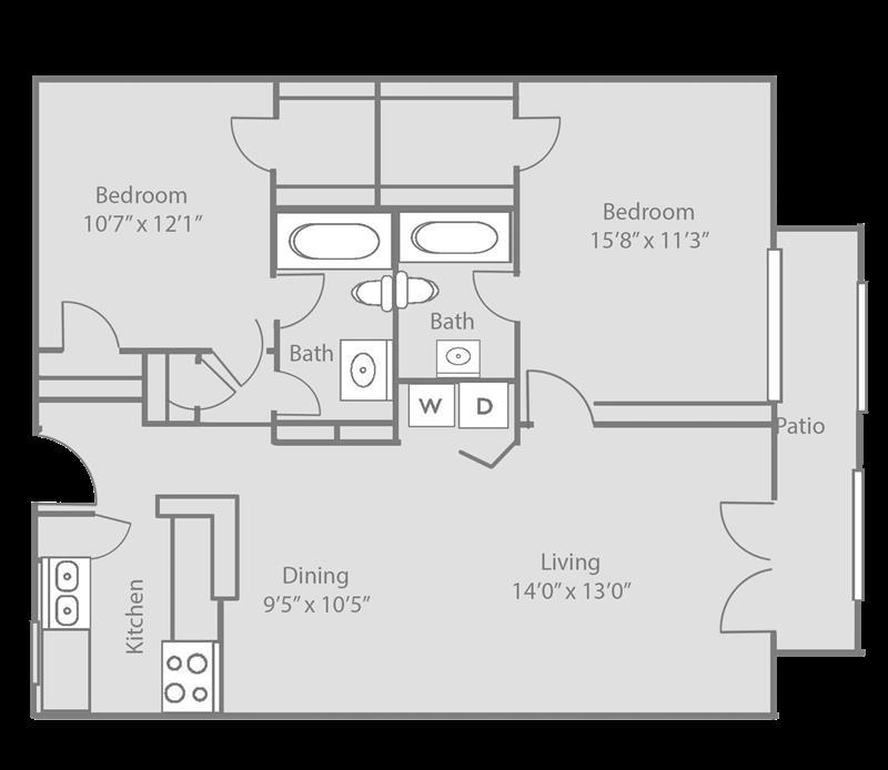 1,014 sq. ft. BRISTOL floor plan