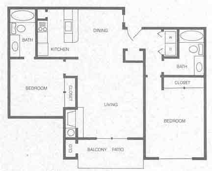 940 sq. ft. B2 floor plan