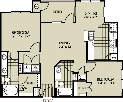 1,021 sq. ft. Primrose floor plan