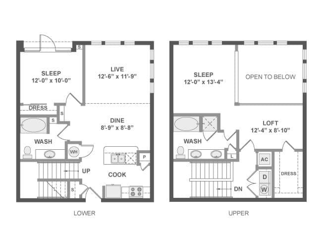 1,356 sq. ft. C7T floor plan