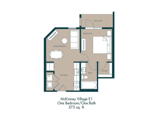 575 sq. ft. E1 floor plan