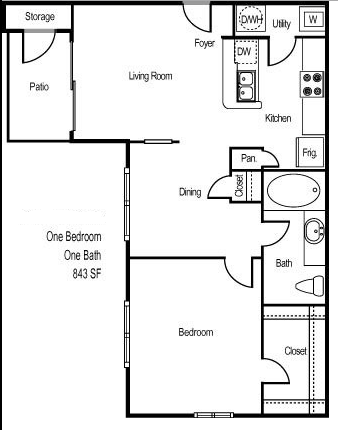 843 sq. ft. ARUBA floor plan