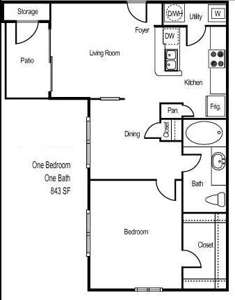 843 sq. ft. ARUBA floor plan
