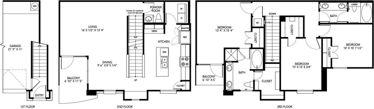 1,483 sq. ft. C2 floor plan