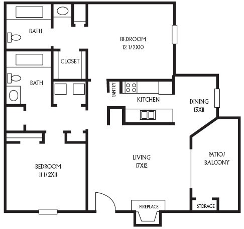 965 sq. ft. B10 floor plan