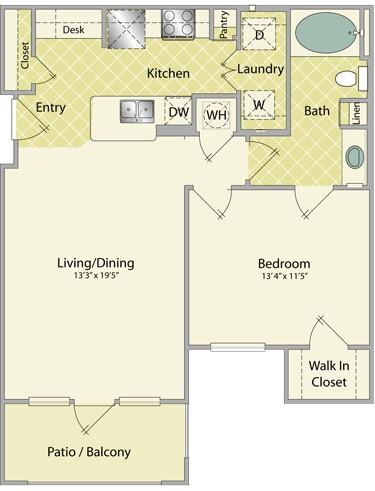 779 sq. ft. Pinehurst floor plan