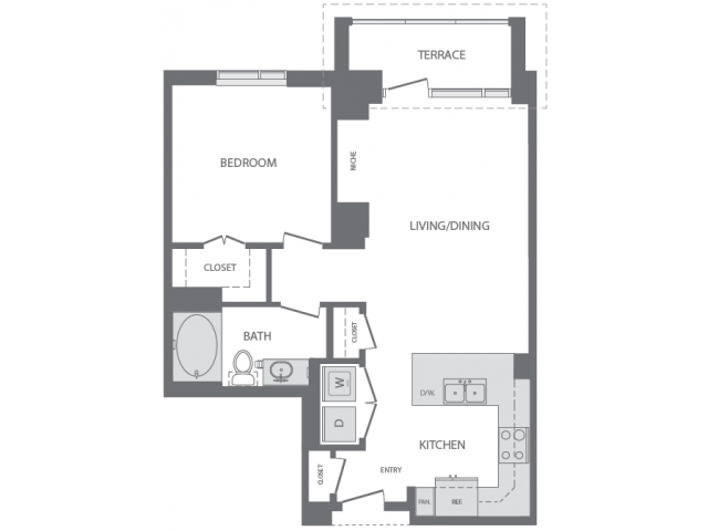 720 sq. ft. to 780 sq. ft. C floor plan