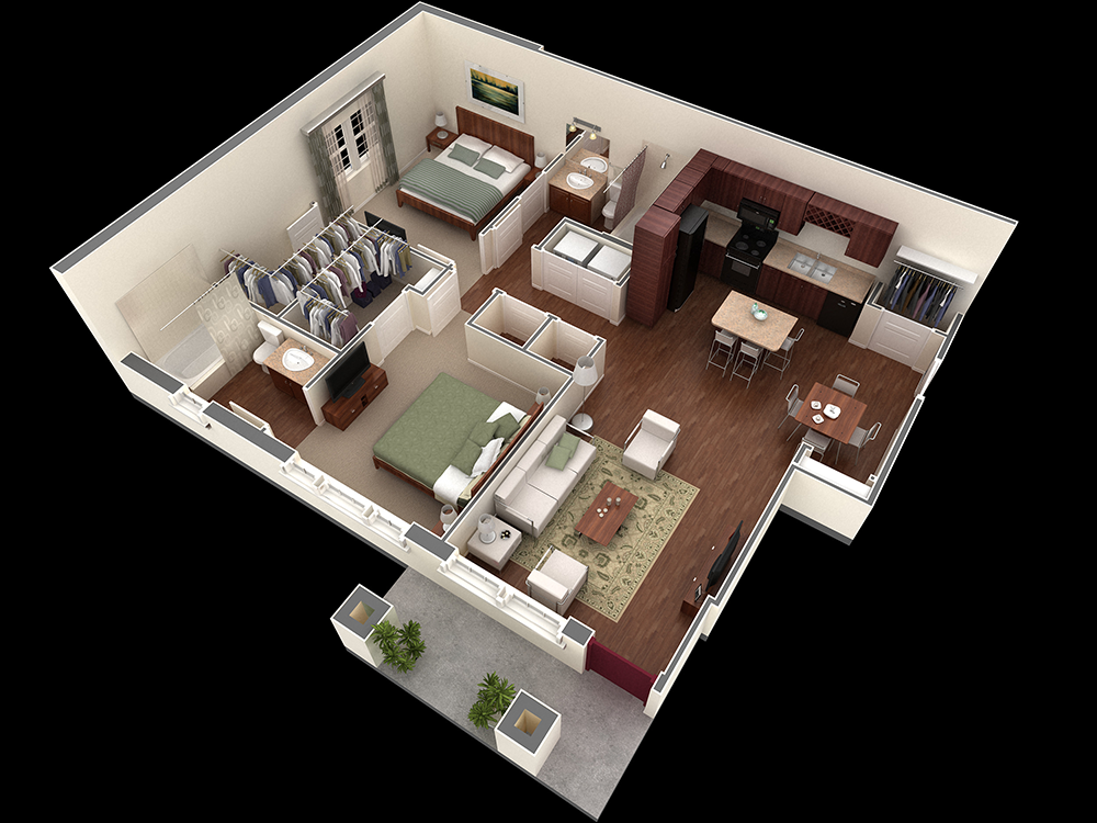 1,055 sq. ft. Davis floor plan