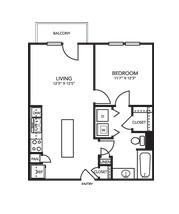 648 sq. ft. A1E floor plan