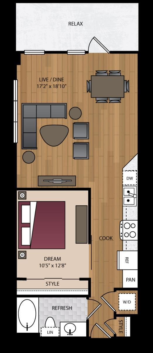 746 sq. ft. P-A11 floor plan