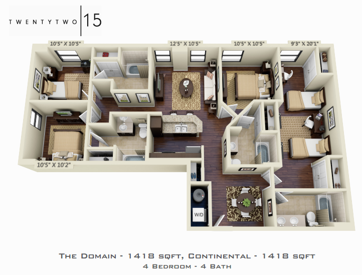 1,418 sq. ft. DOMAIN/CONTENENTAL floor plan
