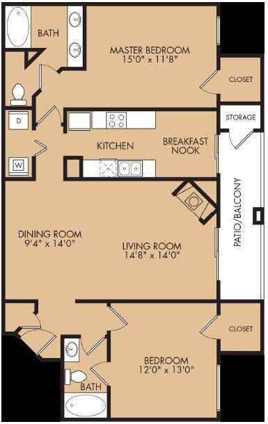 1,209 sq. ft. B2 floor plan