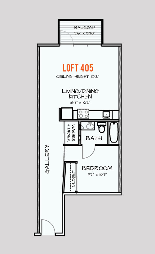 668 sq. ft. 303 floor plan