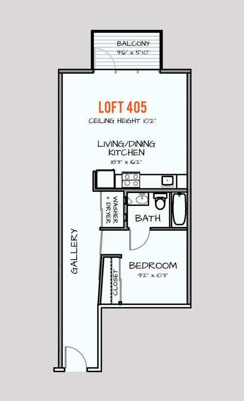 668 sq. ft. 303 floor plan