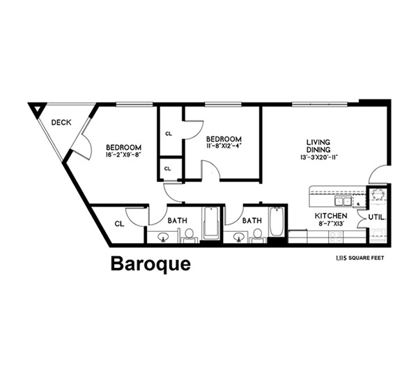 1,115 sq. ft. Baroque floor plan