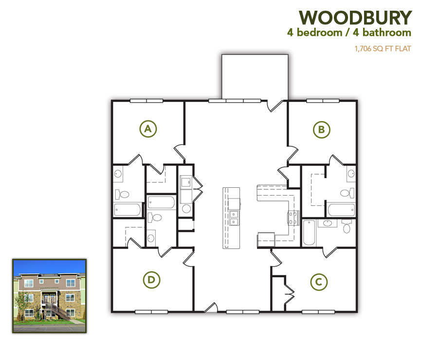 1,706 sq. ft. Woodbury Row floor plan